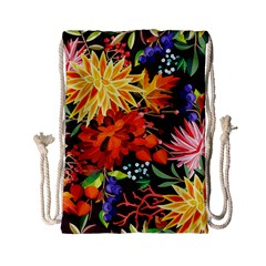 Autumn Flowers Pattern 2 Drawstring Bag (small) by tarastyle