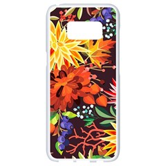 Autumn Flowers Pattern 2 Samsung Galaxy S8 White Seamless Case by tarastyle