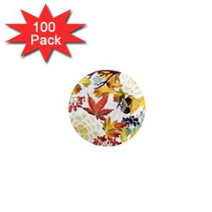 Autumn Flowers Pattern 3 1  Mini Magnets (100 Pack)  by tarastyle