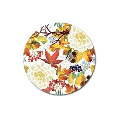 Autumn Flowers Pattern 3 Magnet 3  (round) by tarastyle