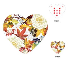 Autumn Flowers Pattern 3 Playing Cards (heart)  by tarastyle