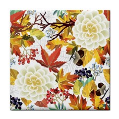 Autumn Flowers Pattern 3 Face Towel by tarastyle