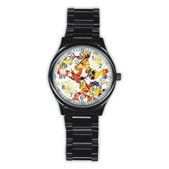 Autumn Flowers Pattern 3 Stainless Steel Round Watch by tarastyle