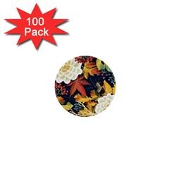 Autumn Flowers Pattern 4 1  Mini Buttons (100 Pack)  by tarastyle