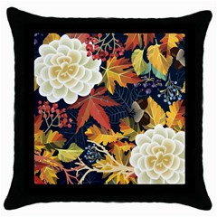 Autumn Flowers Pattern 4 Throw Pillow Case (black) by tarastyle