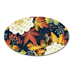 Autumn Flowers Pattern 4 Oval Magnet by tarastyle