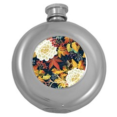 Autumn Flowers Pattern 4 Round Hip Flask (5 Oz) by tarastyle