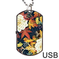 Autumn Flowers Pattern 4 Dog Tag Usb Flash (two Sides) by tarastyle