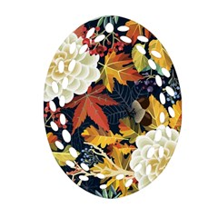 Autumn Flowers Pattern 4 Ornament (oval Filigree) by tarastyle