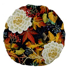 Autumn Flowers Pattern 4 Large 18  Premium Flano Round Cushions by tarastyle