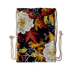 Autumn Flowers Pattern 4 Drawstring Bag (small) by tarastyle
