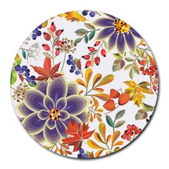 Autumn Flowers Pattern 5 Round Mousepads by tarastyle