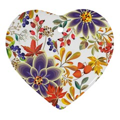 Autumn Flowers Pattern 5 Ornament (heart) by tarastyle