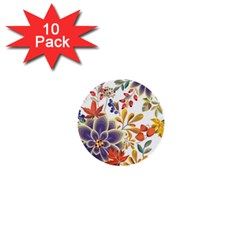 Autumn Flowers Pattern 5 1  Mini Buttons (10 Pack)  by tarastyle