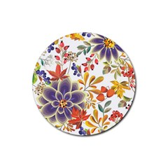 Autumn Flowers Pattern 5 Rubber Round Coaster (4 Pack)