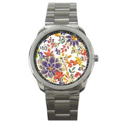 Autumn Flowers Pattern 5 Sport Metal Watch