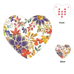 Autumn Flowers Pattern 5 Playing Cards (heart)  by tarastyle