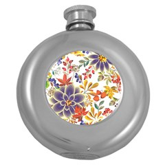 Autumn Flowers Pattern 5 Round Hip Flask (5 Oz) by tarastyle