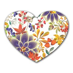 Autumn Flowers Pattern 5 Heart Mousepads by tarastyle