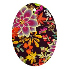 Autumn Flowers Pattern 6 Ornament (oval) by tarastyle