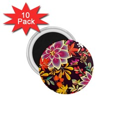 Autumn Flowers Pattern 6 1 75  Magnets (10 Pack)  by tarastyle