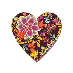 Autumn Flowers Pattern 6 Heart Magnet by tarastyle