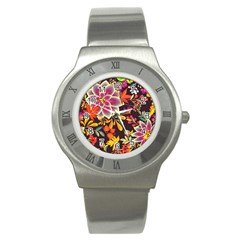 Autumn Flowers Pattern 6 Stainless Steel Watch by tarastyle
