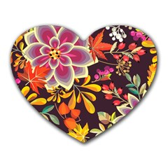 Autumn Flowers Pattern 6 Heart Mousepads by tarastyle