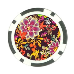 Autumn Flowers Pattern 6 Poker Chip Card Guard by tarastyle