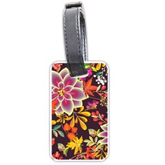 Autumn Flowers Pattern 6 Luggage Tags (two Sides) by tarastyle