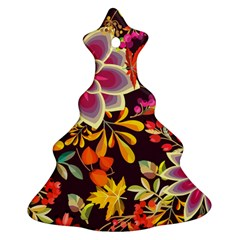 Autumn Flowers Pattern 6 Christmas Tree Ornament (two Sides) by tarastyle