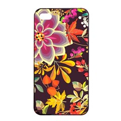Autumn Flowers Pattern 6 Apple Iphone 4/4s Seamless Case (black) by tarastyle