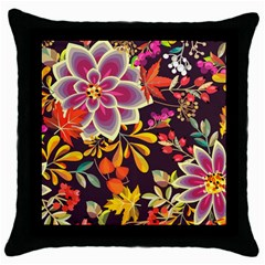 Autumn Flowers Pattern 6 Throw Pillow Case (black) by tarastyle