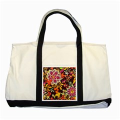 Autumn Flowers Pattern 6 Two Tone Tote Bag by tarastyle