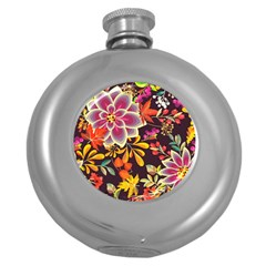 Autumn Flowers Pattern 6 Round Hip Flask (5 Oz) by tarastyle