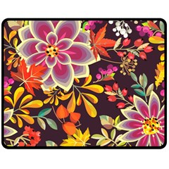 Autumn Flowers Pattern 6 Fleece Blanket (medium)  by tarastyle