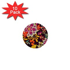 Autumn Flowers Pattern 6 1  Mini Buttons (10 Pack)  by tarastyle