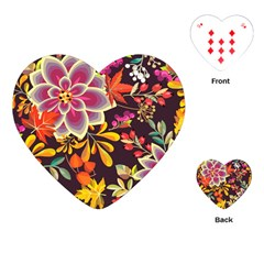 Autumn Flowers Pattern 6 Playing Cards (heart)  by tarastyle