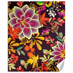 Autumn Flowers Pattern 6 Canvas 11  X 14   by tarastyle