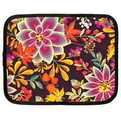 Autumn Flowers Pattern 6 Netbook Case (large) by tarastyle