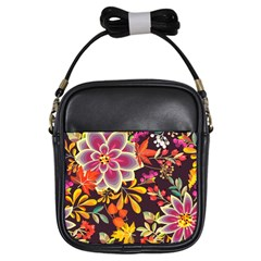 Autumn Flowers Pattern 6 Girls Sling Bags by tarastyle