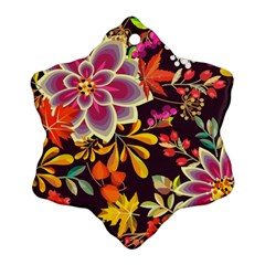 Autumn Flowers Pattern 6 Ornament (snowflake)