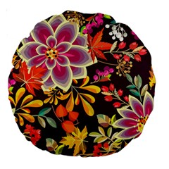 Autumn Flowers Pattern 6 Large 18  Premium Round Cushions by tarastyle