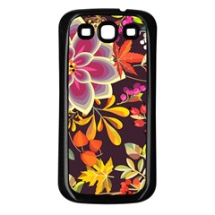 Autumn Flowers Pattern 6 Samsung Galaxy S3 Back Case (black) by tarastyle