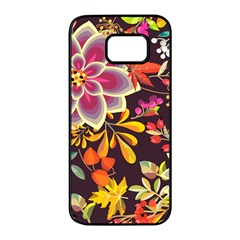 Autumn Flowers Pattern 6 Samsung Galaxy S7 Edge Black Seamless Case by tarastyle