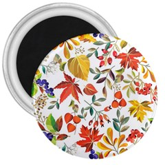 Autumn Flowers Pattern 7 3  Magnets by tarastyle