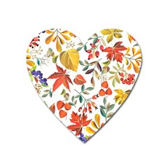 Autumn Flowers Pattern 7 Heart Magnet by tarastyle