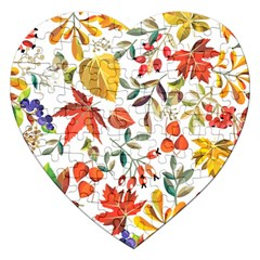 Autumn Flowers Pattern 7 Jigsaw Puzzle (heart) by tarastyle