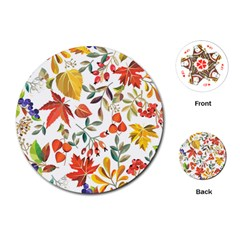 Autumn Flowers Pattern 7 Playing Cards (round)  by tarastyle