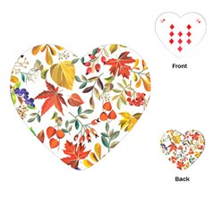 Autumn Flowers Pattern 7 Playing Cards (heart)  by tarastyle